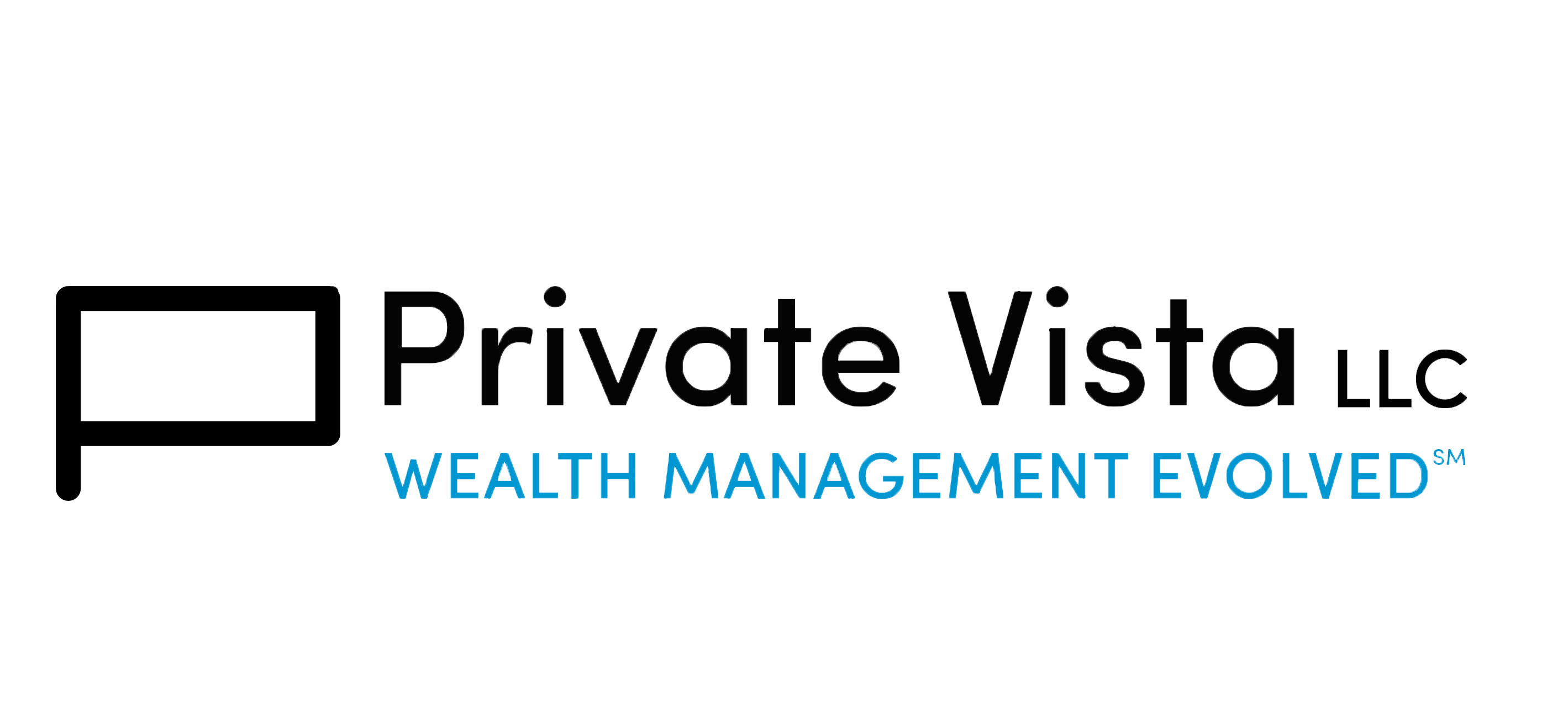 Private Vista LLC and tagline blue logo